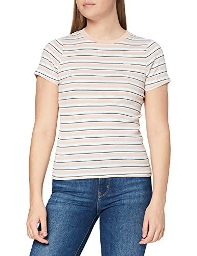 Levi's Womens SS Rib Baby Tee T-Shirt, Coco Stripe Evening Sands, L
