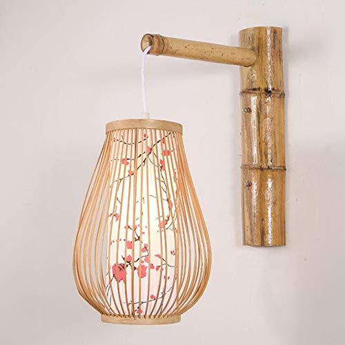 Laogg Lámpara de Pared Aplique LED, Lámpara de Pared de Bambú de Mimbre de La Linterna de La Rota Aplique de Pared País Rústico Hogar Dormitorio Sala de Estar Pasillo