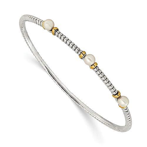 Pulsera apilable de plata de 14 quilates con botones cultivados en agua dulce pulida, con perlas y abalorios, regalos para mujeres