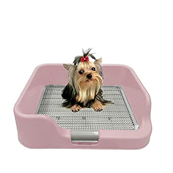 [DogCharge] Indoor Dog Potty Tray – with Protection Wall Every Side for No Leak Spill Accident - Keep Paws Dry and Floors Clean  Pink