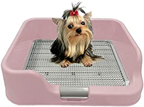 [DogCharge] Indoor Dog Potty Tray – with Protection Wall Every Side for No Leak, Spill, Accident - Keep Paws Dry and Floors Clean (Pink)