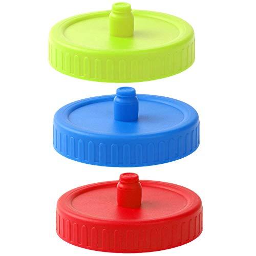 iEFiEL 3Pcs Mason Jar Fermentation Lids Waterless Airlock Sealing Fermenting Lids with Hole Plug for Pickles Kimchi Storage Sauerkraut Making Red+Green+Blue 86mm