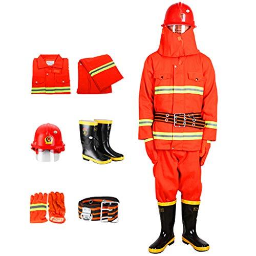XIONGGG Feuerfester Anzug, Geteilter Schutzanzug Für Arbeitssicherheit 5-Zoll-Schutzanzug Für Feuerwehrleute Mit Hoher Sichtbarkeit Und Hoher Sichtbarkeit Orange,175CM