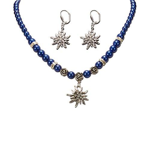 Alpenflüstern Trachtenschmuck-Set Perlen-Trachtenkette und Trachten-Ohrhänger Strass-Edelweiß - Damen-Trachten-Schmuck, Trachtenset Dirndl-Kette und Trachten-Ohrringe blau SET005