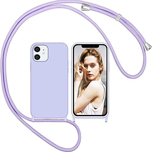 Nupcknn Liquid Silikon Handykette Hülle für iPhone 12/iPhone 12 Pro Hülle Necklace(abnehmbar) Hülle mit Kordel zum Umhängen Handy Schutzhülle mit Band(Lila)