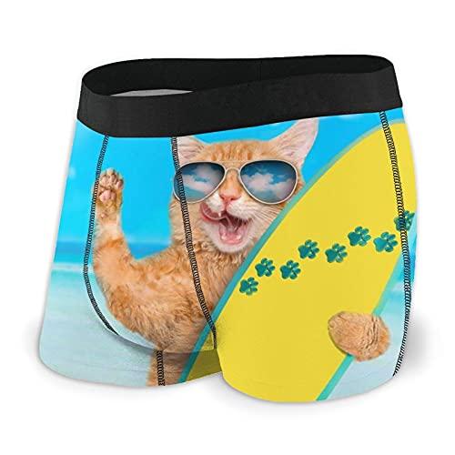 Calzoncillos tipo bóxer para hombre, ropa interior cómoda, clásica, elástica, para deporte, Gafas de sol con diseño de gato surfista, color negro, XL