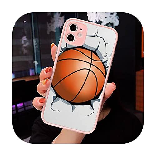 Baloncesto llama fuego Color teléfono caso mate transparente para iPhone 7 8 11 12 s Mini pro X XS XR MAX Plus cubierta funda-a8-iPhone11