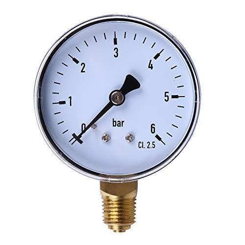 LIPENLI Manómetro de 1/4 pulgada 6 compresor de barra de aire comprimido medidor de presión de aire para agua aérea medición de gases de aceite