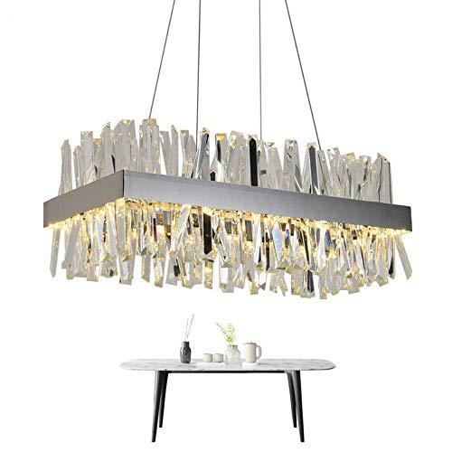 ZCZZ Lámpara de cristal moderna para comedor rectangular diseño cocina isla accesorios de iluminación cromo LED cristal brillo, oro, L100W40H30cm