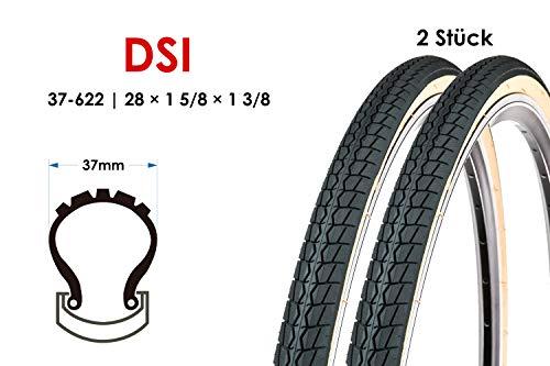 2 Stück 28 Zoll Fahrrad Reifen 37-622 City Trekking Bike 28x1 3/8 Mantel Tire Retro braun