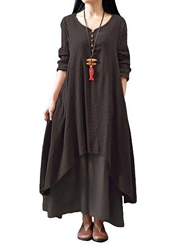Romacci Damen Beiläufige Lose Kleid Fest Langarm Boho Lang Maxi Kleid S-5XL Schwarz/Weiß/Rot/Gelb, Kaffee, 5XL
