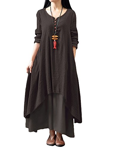 Romacci Damen Beiläufige Lose Kleid Fest Langarm Boho Lang Maxi Kleid S-5XL Schwarz/Weiß/Rot/Gelb, Kaffee, M