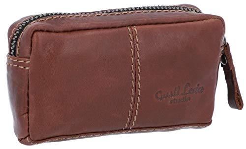 Gusti Leder studio 'Butler portachiavi in pelle con cerniera per valigia portamonete chiavi piccolezze cuffie in vera pelle marrone scuro 2A66-22-6