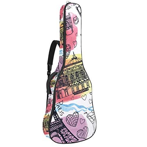 Funda de Guitarra Española Edificios de fama mundial Bolsa Acolchada Para Guitarra Acústica con Asa de Transporte y Correa Para el Hombro 109x43x12cm