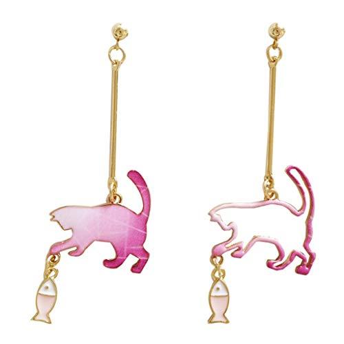 Haptian Oorstekers, leuke asymmetrische ruimte astronauten kattenvanger vis bungelen oorbellen mode oorbellen
