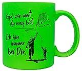 vanVerden Taza con texto en alemán 'Egal wie weit du weg bist. Ich bin immer bei Dir. Papa e hijo impreso por ambos lados, idea de regalo, color verde neón