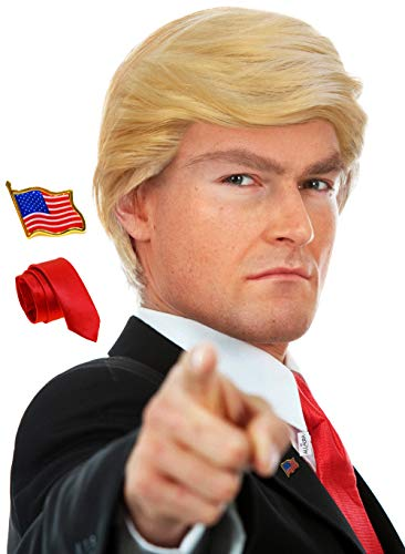 3pc Donald Trump Wig + President Flag Pin + Red Tie Costume For Adults Kids