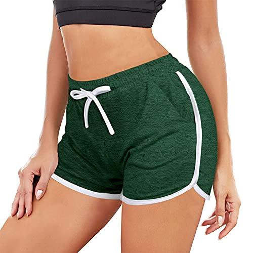Mujeres Pantalones Cortos Deportivos de Color Sólido de Cintura Alta Shorts de Deporte Suelto y Cómodo Pantalón de Yoga Elástica Ajustable Pantalones Absorbentes y Transpirables para Fitness