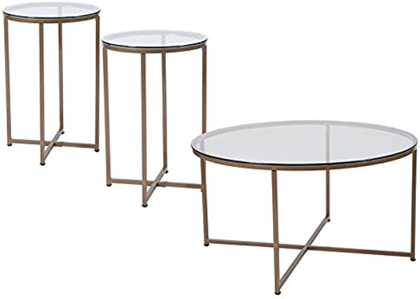 Flash Furniture 3 Pc Occasional Set In Clear And Matte Gold Finish