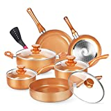 KUTIME 11pcs Cookware Set, Pots and Pans Set, Non-stick Frying Pan Set Copper Ceramic Coating Stock Pot, Sauce Pans, Deep Saute Pan with Lid, Gas, Induction Compatible
