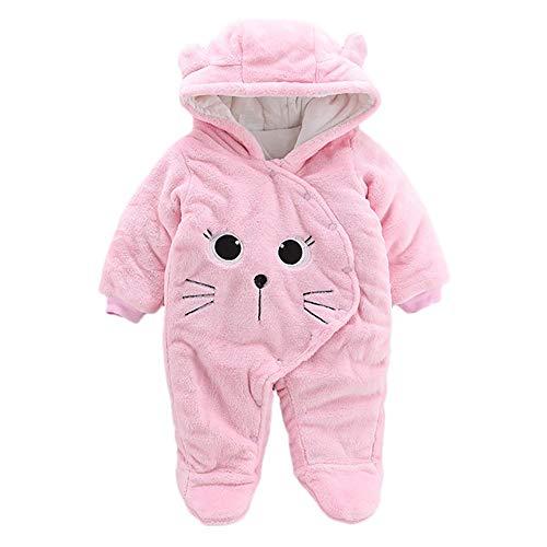 Proumy ◕ˇ∀ˇ◕ Baby Kleidung Jungen Mädchen Winter Fleece Overall Mit Kapuze Mädchen Jungen Schneeanzüge Warm Strampler Outfits 0-12 Monate (Rosa,0-3Months)