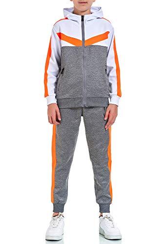 XRebel Kinder Junge Jogginganzug Sportanzug Modell W32 (37-Grau mit Neon Orange, 152-158(14), numeric_152)