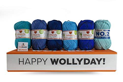 myboshi Wollpaket Blue Lagoon | aus No.2 | 5 Knäuel Wolle + extra Knäuel | Häkeln oder Stricken | Blautöne