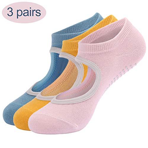 Yoga sokken voor dames, 3 paar yoga pilates sok, antislip, voor pilates, balletdans, barre fitness, blote voeten training trampoline B