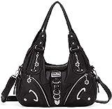 Handbag Hobo Women Bag Roomy Multiple Pockets Street ladies' Shoulder Bag Fashion PU Tote Satchel Bag for Women (11282-8521#1BLACK)