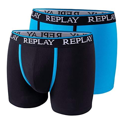 2er Set Boxershorts Herren Replay Baumwolle Unterhose eng anliegend (XXL, Turquoise/Black)