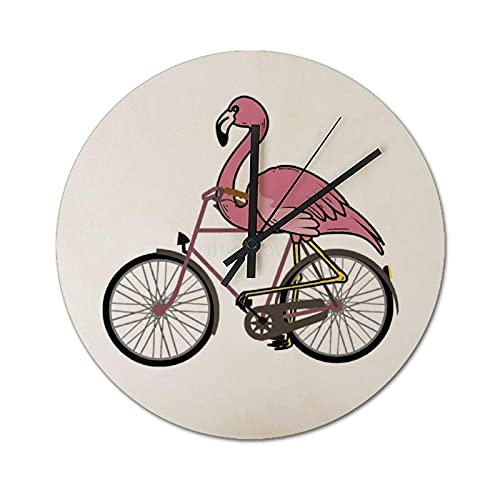 Reloj de pared de 30 cm, relojes decorativos silenciosos que no hacen tictac, reloj de pared redondo retro para interiores, cocina, dormitorio, sala de estar - Flamingo Ciclismo Cool Biker Funny Bike