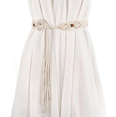 Fashion Bohemian Tassel Thin Braided Belt Wood Waist Belt Women's Dress Tassel Belt Knotted Decorated (Beige Tassel)