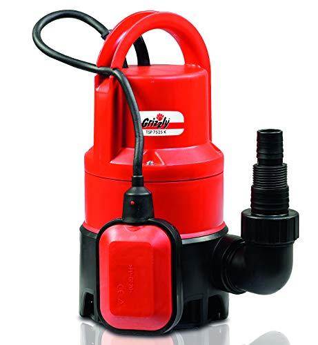 Grizzly Tools Schmutzwasser Tauchpumpe TSP 7525 K (400 W, max. 7500 l/h, max. Schwebstoffgröße 25 mm, max. Förderhöhe 5 m, automatische Ein-/ Ausschaltung durch Schwimmschalter)