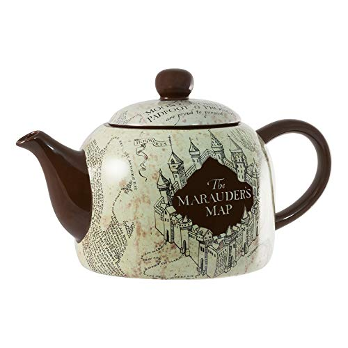 seven20 Harry Potter Marauder's Map Ceramic Teapot, Standard Size, Burgundy