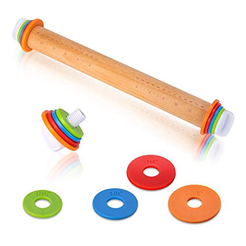 Wood Rolling Pin For Baking,Adjustable Rolling Pin With Thickness Rings,Lager Rolling Pins For Cookies,Pizza,Fondant