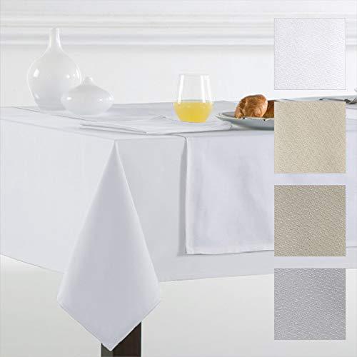 Barceló Hogar - Mantel de Mesa Crepe Modelo Angora, Calidad 50/50, Color Liso Blanco, Medida Cuadrada 100x100 cm, Mantel Hostelería