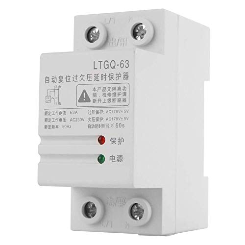 GUONING-L Tensión del Protector de relé, 230V 63A 2P Ajustable Reconexión automática relé de protección de sobre Voltaje y Menos...