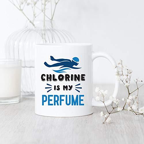 DKISEE Natación Chlorine is My Perfume Taza de café, taza de natación, divertida taza de café, taza de café de 15 onzas