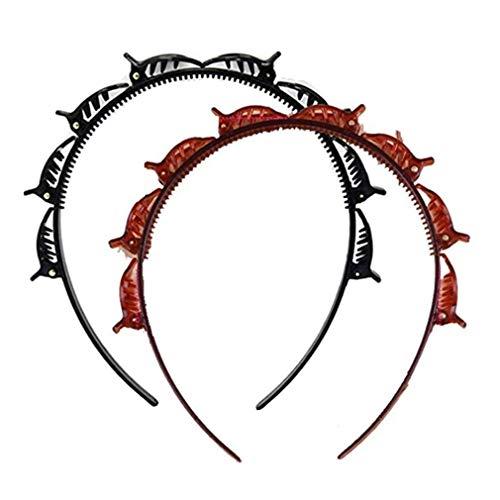 Sannysis Magic Styling Haarreifen Haarnadel Stirnbänder, Double Bangs Hairstyle Hairpin, Pony Braid Stirnband Haar Twist Haarspangen Clips, DIY Haarband für Frauen Mädchen (Haarreifen-2PC)