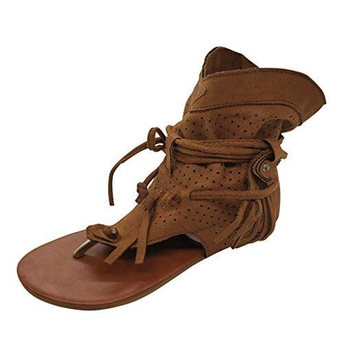 Damen Sandalen Retro Quaste Zehentrenner Bequeme Flache Beach Strandsandale Peep Toe Sommer Outdoor Sandals Freizeitschuhe(1-Braun/Brown,40)