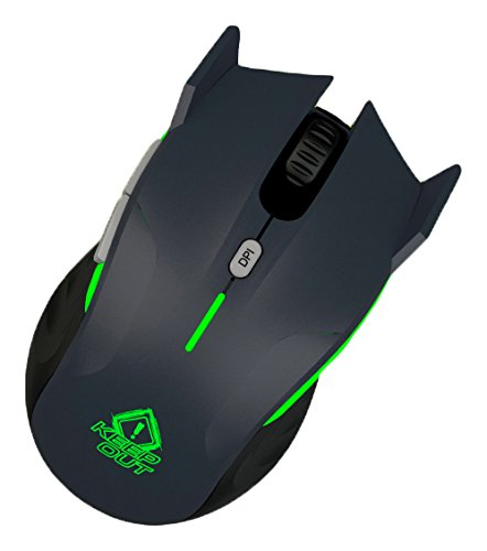 Keep Out Gaming XPOSEIDONG - Ratón Gaming óptico, Color Gris y Verde