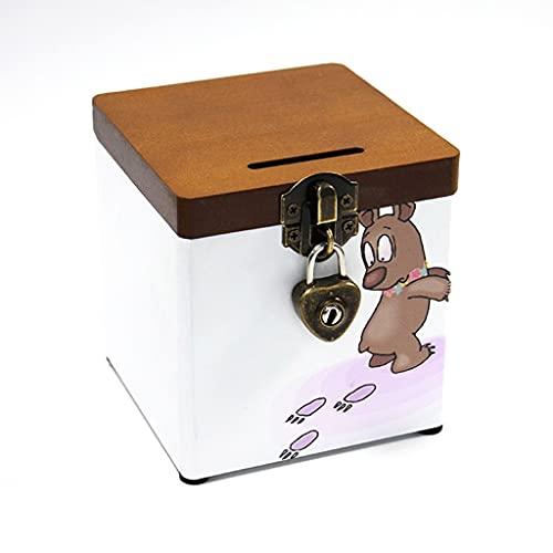 Hucha Linda Banco De Dinero con Cerradura Y Tapa De Madera Banco De Monedas De Madera Hecho A Mano Caja De Almacenamiento (Color : Piggy Bank B)