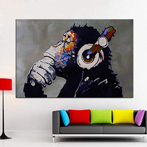 Modernes Tier DJ Affe Malerei Wandbild benutzerdefinierte Leinwand Poster Kinder Affe Druck Raumdekoration HD Leinwanddruck Home Dekoration Malerei A45 60x80cm