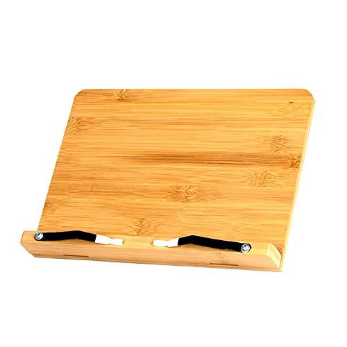 Soporte de bambú para libros de cocina, soporte de lectura con 2 soportes de página de metal para cocinar libros de cocina, recetas, iPad, tabletas (grande)
