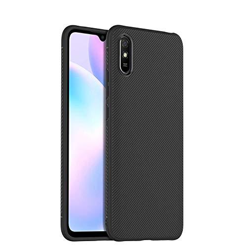 N/K Funda para Xiaomi Redmi 9a, Ultra Fina Carcasa TPU Silicona [Antideslizante] [Anti-Golpes] [Resistente Arañazos ] [Fibra de Carbono Patrón Oblicuo] - Negro