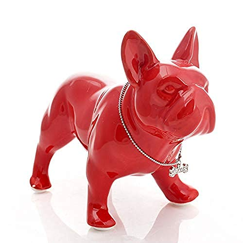 AOEY Collectible Figurines Sculpture Modern Statue Home Decoration Accessories French Bulldog Statue Dog Art Sculpture Ceramic Handicraft Home Decoration Object Porcelain Ornament