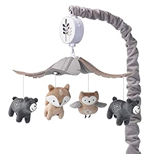 crib bedding and baby bedding lambs & ivy woodland forest gray/tan musical baby crib mobile soother toy