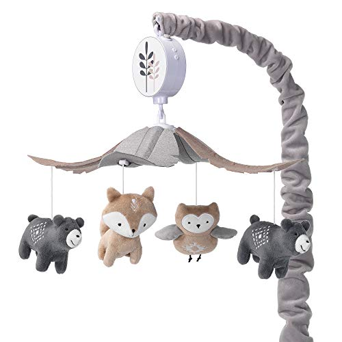 Lambs & Ivy Woodland Forest Gray/Tan Musical Baby Crib...