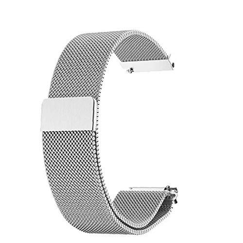 TongICheng Ver Banda De Malla Tejida De La Correa De Metal De Acero Inoxidable De Liberación Rápida Smartwatch De Plata De 20 Mm De Reemplazo
