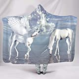 GOLUM Hooded Blanket Unicorn Universal Fresh Funny Robe Hood - Fits Air-Conditioned Rooms for Women/Men Gift White 60x80 inch